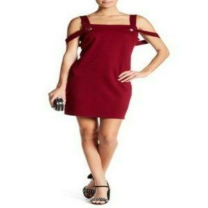 Vanity Room  Grommet Cold-Shoulder Ponte Dress